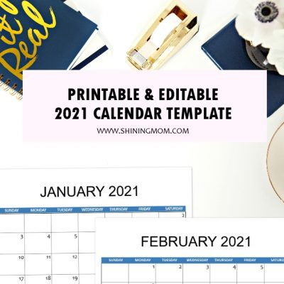 2021 Calendar Template for Instant  Download!