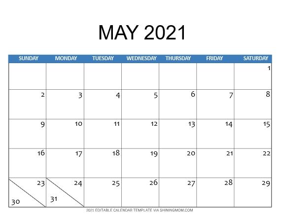 May 2021 calendar template