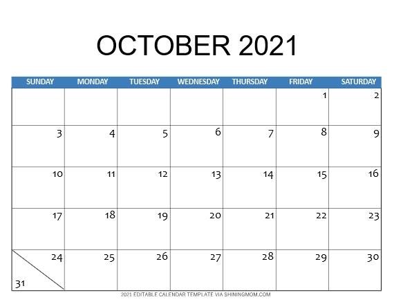 2021 calendar template October