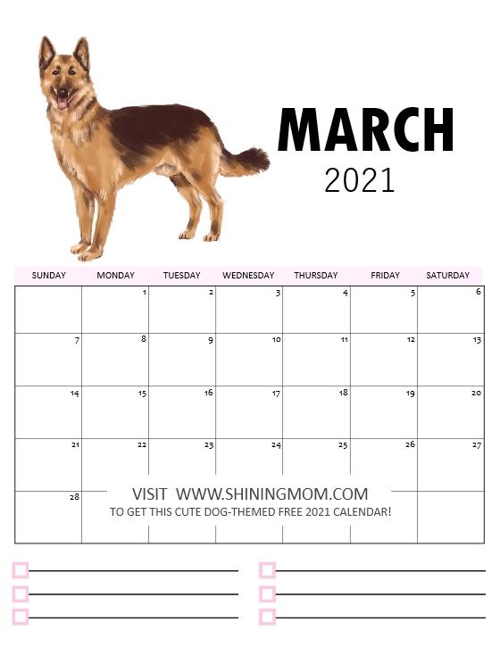 2021 calendar printable March