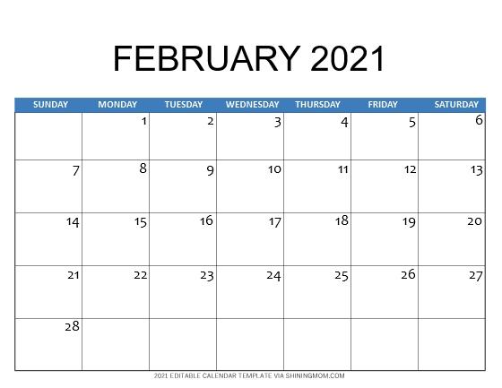 February 2021 calendar template