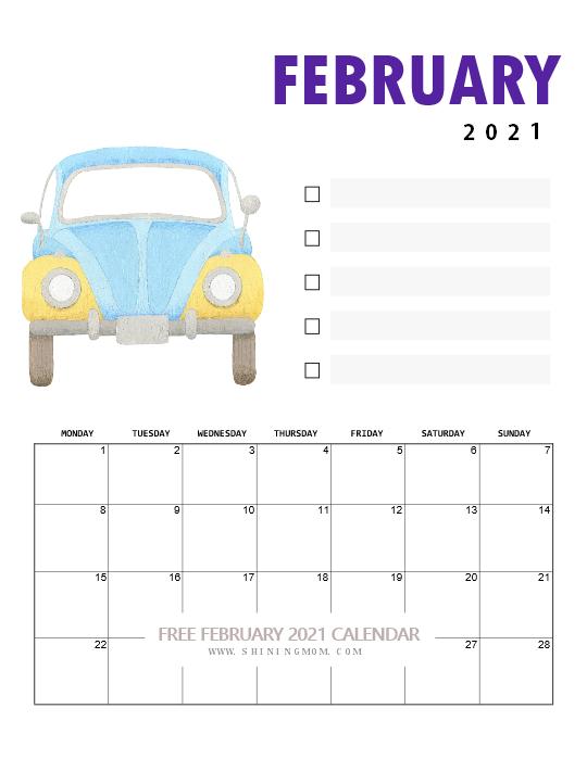 free printable February 2021 calendar for kids