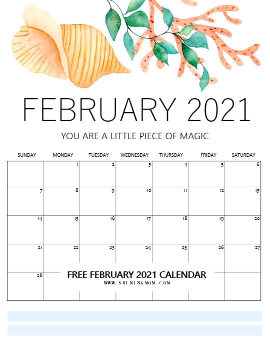February calendar 2021