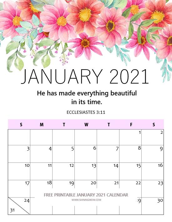 free printable January 2021 calendar beautiful floral