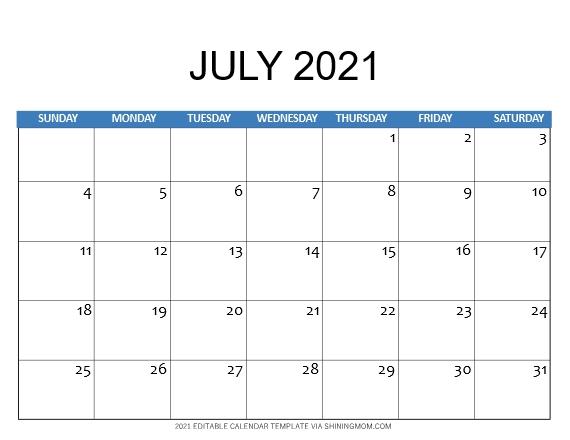 July 2021 calendar template