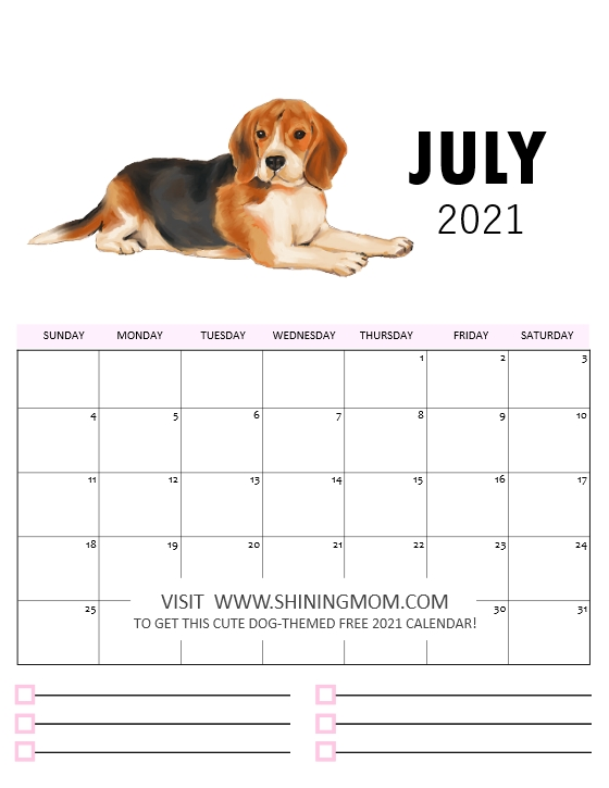 July 2021 calendar printable cute