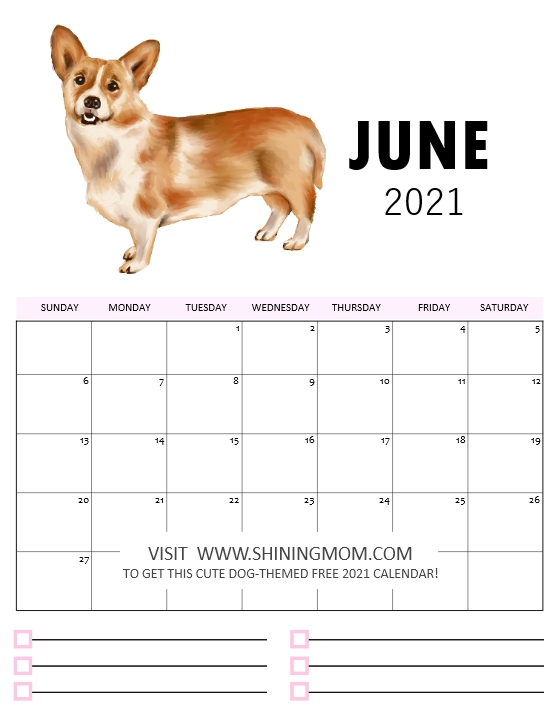 June 2021 calendar printable cute