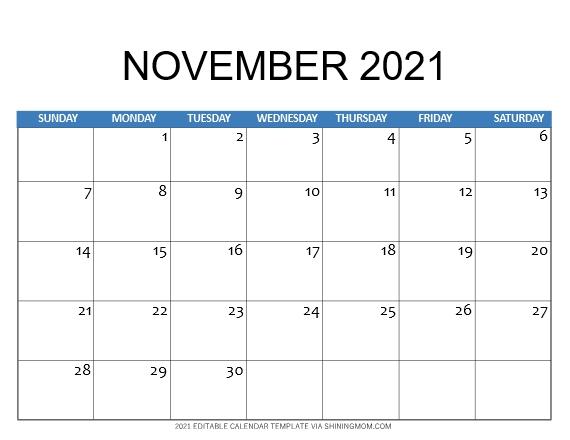 Calendar template November 2021