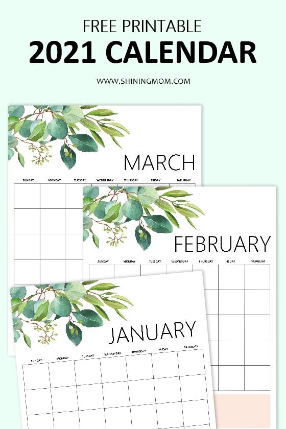 2021 blank calendar printable pdf
