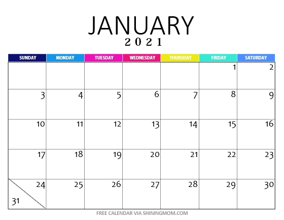 January 2021 calendar printable pdf
