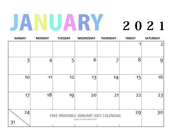 2021 January Calendar printable