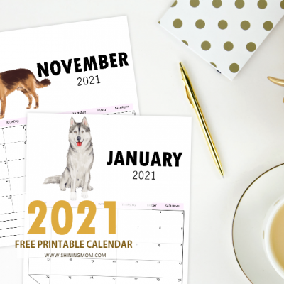 2021 Calendar Printable in Cute Dog Theme for FREE!