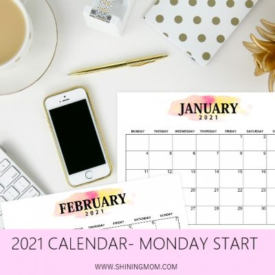 Pretty Printable 2021 Calendar, Monday Start!