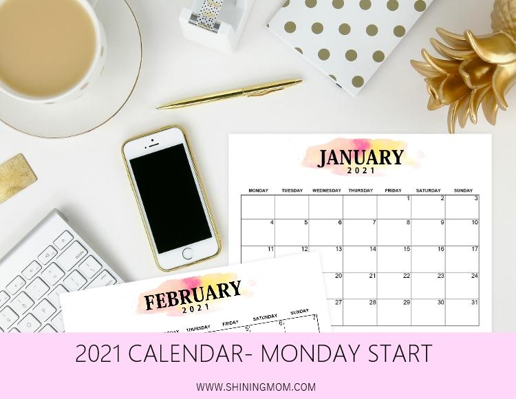 2021 calendar Monday start