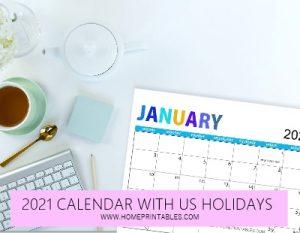 2021 calendar with us holidays