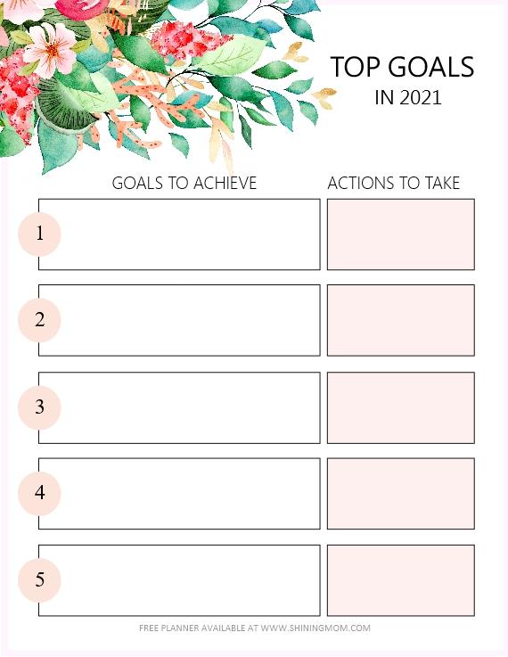 2021 goals planner