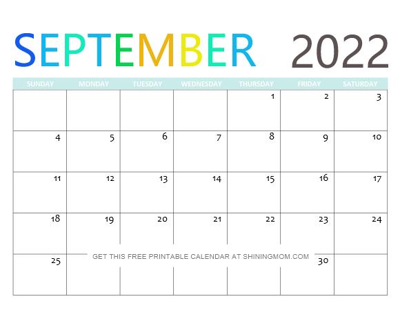 September 2022 Calendar