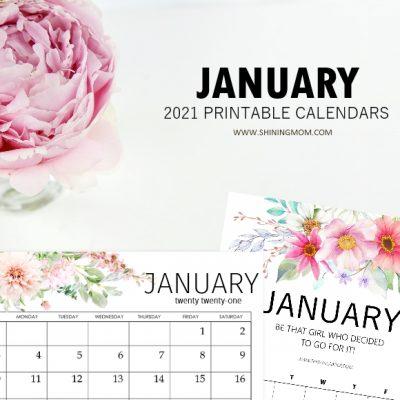 January 2021 Calendars in PDF and Microsoft Word