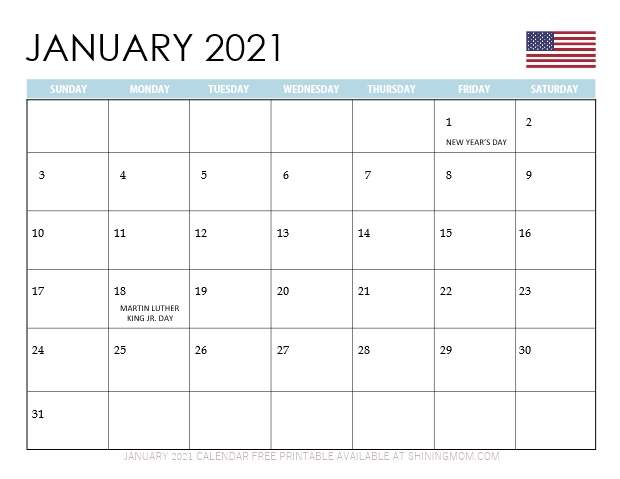 January 2021 calendar US holidays