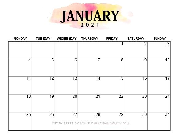 Pretty Printable 2021 Calendar, Monday Start!