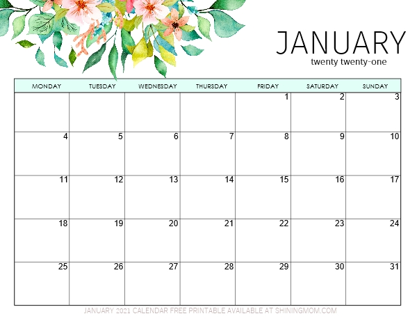 printable January calendar 2021 in PDF