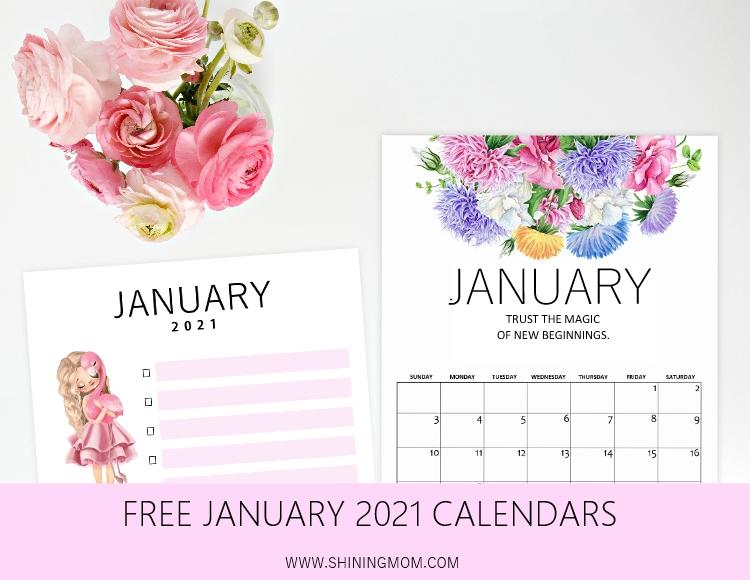 printable January calendar