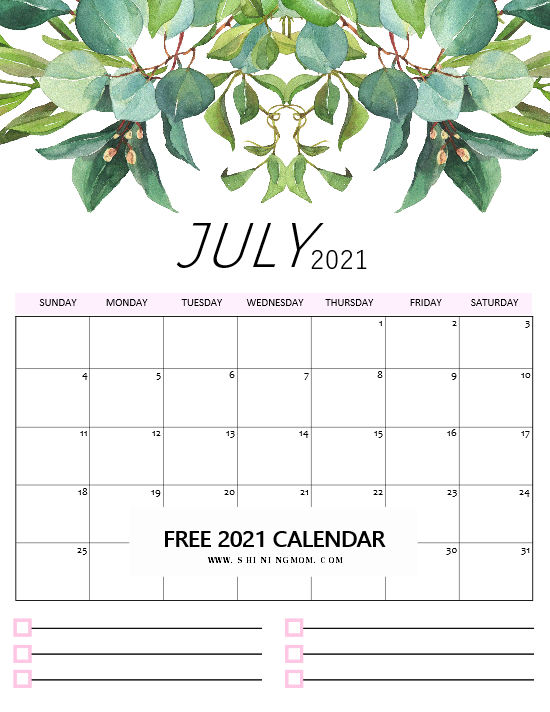2021 calendar free printable for July