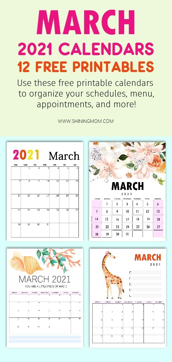 March 2021 calendar free printables