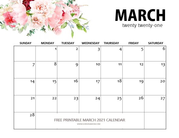 beautiful March calendar