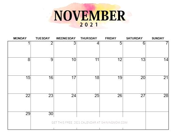 calendar 2021 November