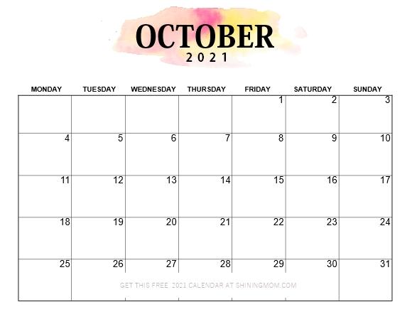 calendar 2021 October