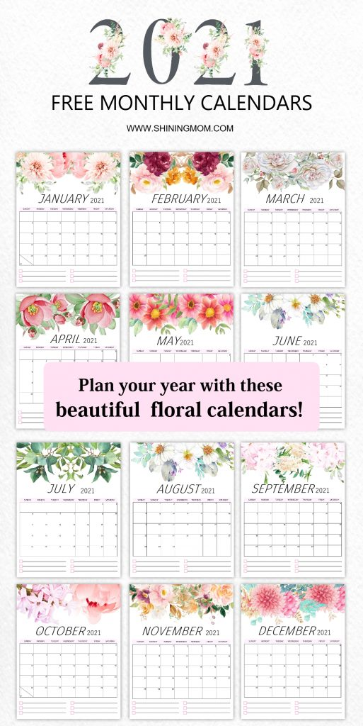 free monthly calendars 2021