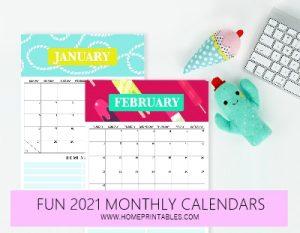 cute monthly 2021 calendar