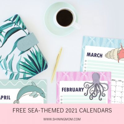 Free 2021 Calendar Printable in Super Cute Sea Theme!