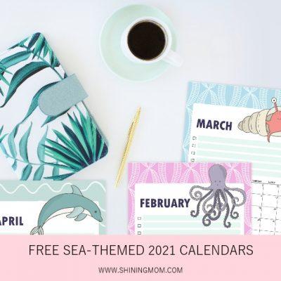 Free 2021 Calendar Printable in Super Cute Sea Theme!