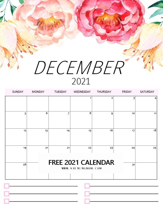 December Calendar 2021 Free Printable