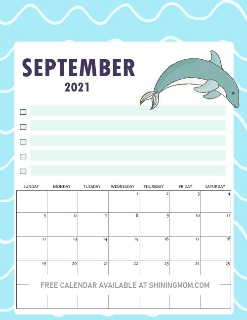 September calendar free printable