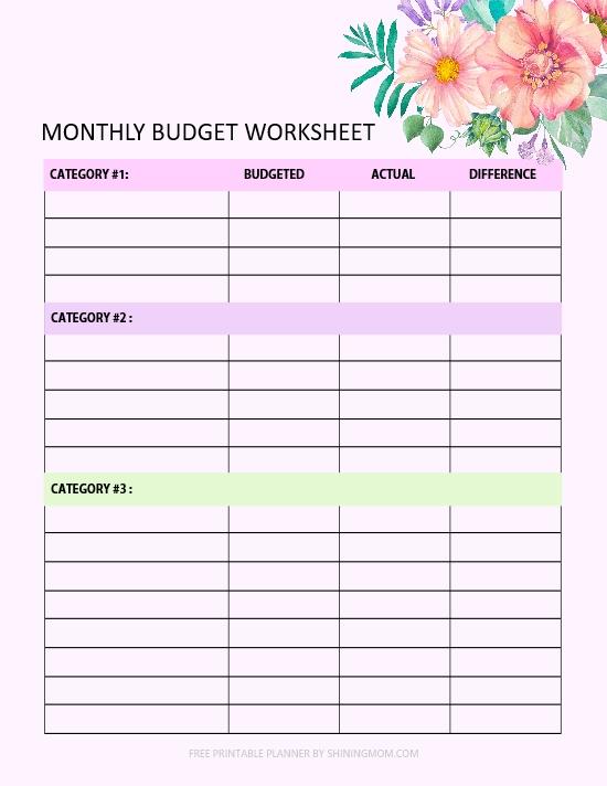 mothly budget worksheet