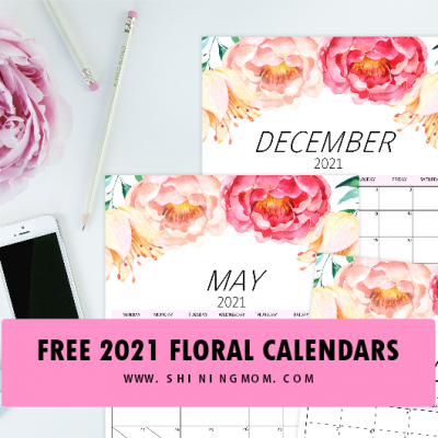 Free Calendar 2021 in Gorgeous Florals with Notes