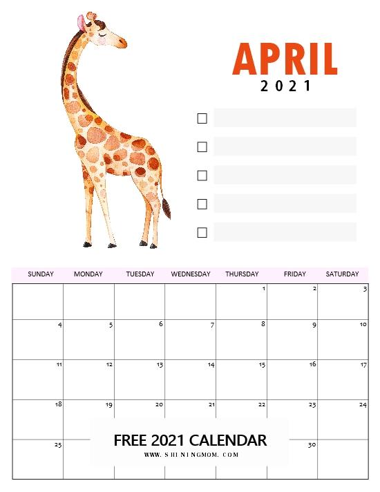 free April calendar 2021 pdf