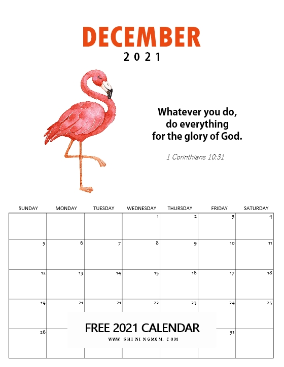 December 2021 calendar inspirational
