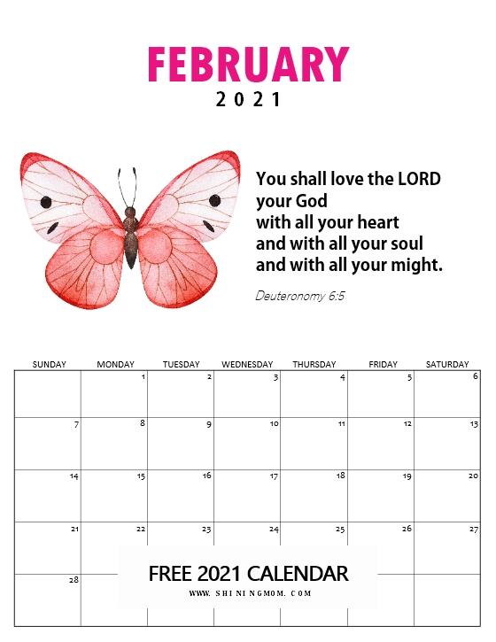 February 2021 Bible verse calendar