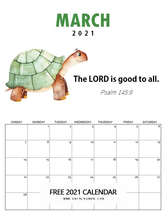 March 2021 Bible verse calendar