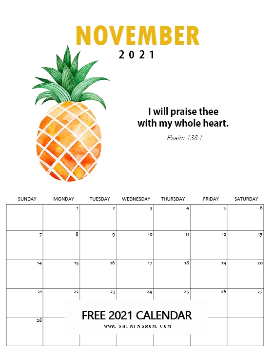 November 2021 Bible verse calendar