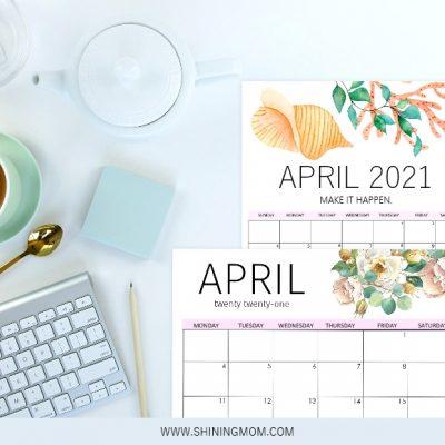 Free Printable April 2021 Calendar: 12 Awesome Designs!