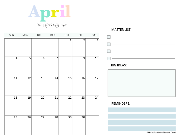 April 2021 monthly planner template