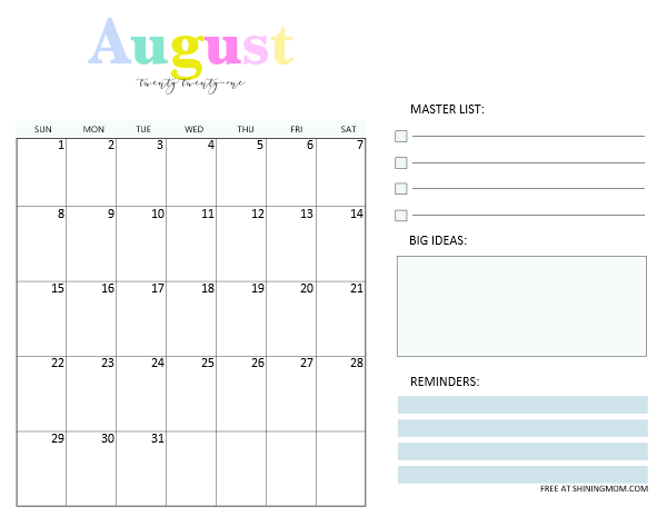 August 2021 monthly planner template