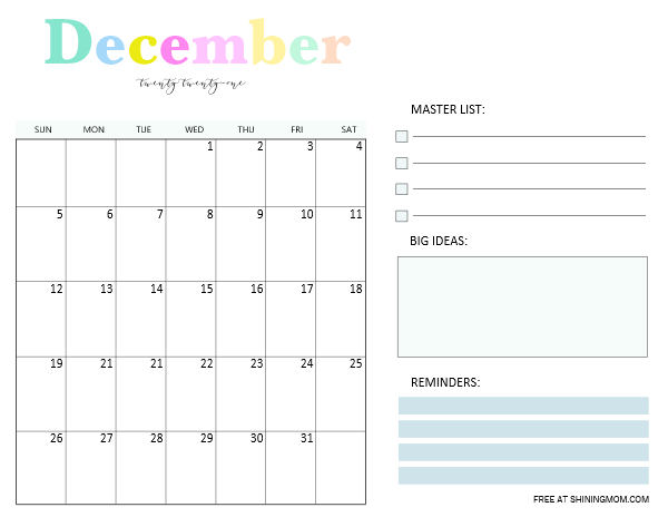 December 2021 monthly planner template