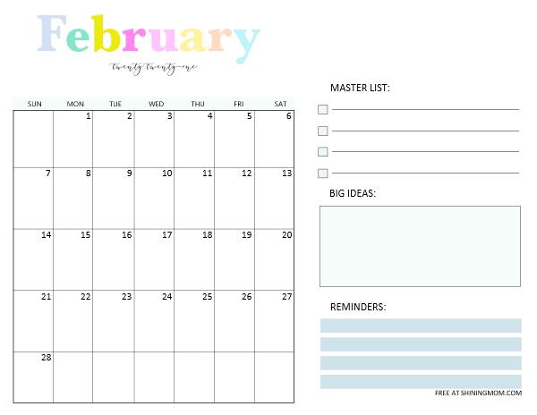 February 2021 Monthly Calendar Planner