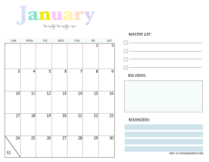 January 2021 Monthly Calendar Planner